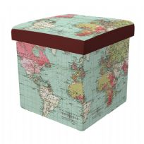 Atlas Map Design Cube Folding Storage Box with Seat